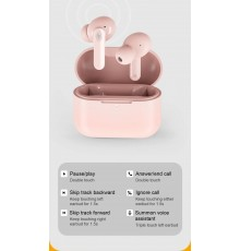 QCY T10 TWS PINK Dual Armature Driver 4-mic noise cancel. True Wireless Earbuds Quick Charge 600mAh