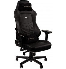 noblechairs HERO Pure Leather Gaming Chair - cold foam, steel armrests,  60mm casters, 150kg - black