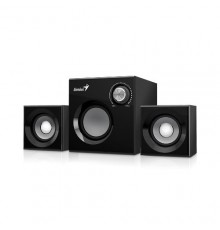 GENIUS SPEAKERS 1WAY, 2.1CH, 12W, WOODEN, BLACK, V+B/C